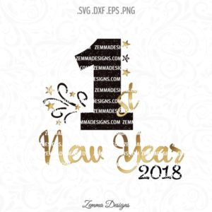 1st new year 2018 svg
