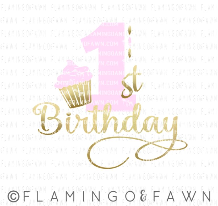1st birthday girl svg