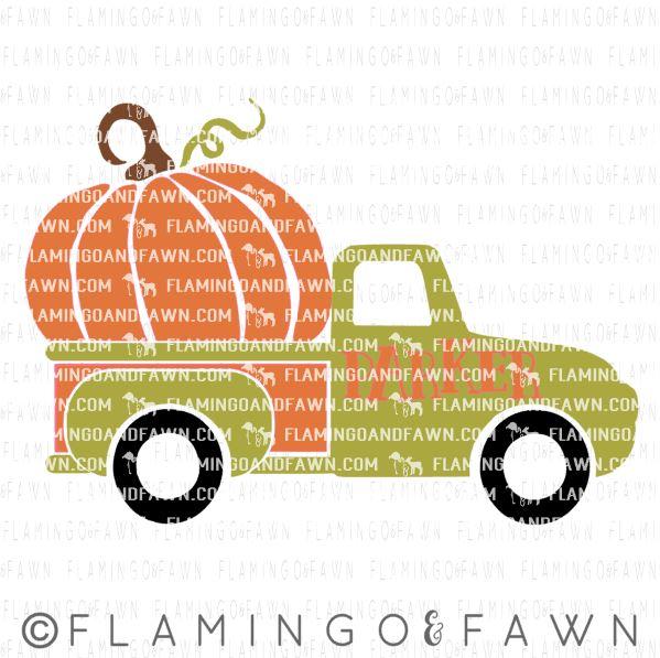 truck with pumpkin svg
