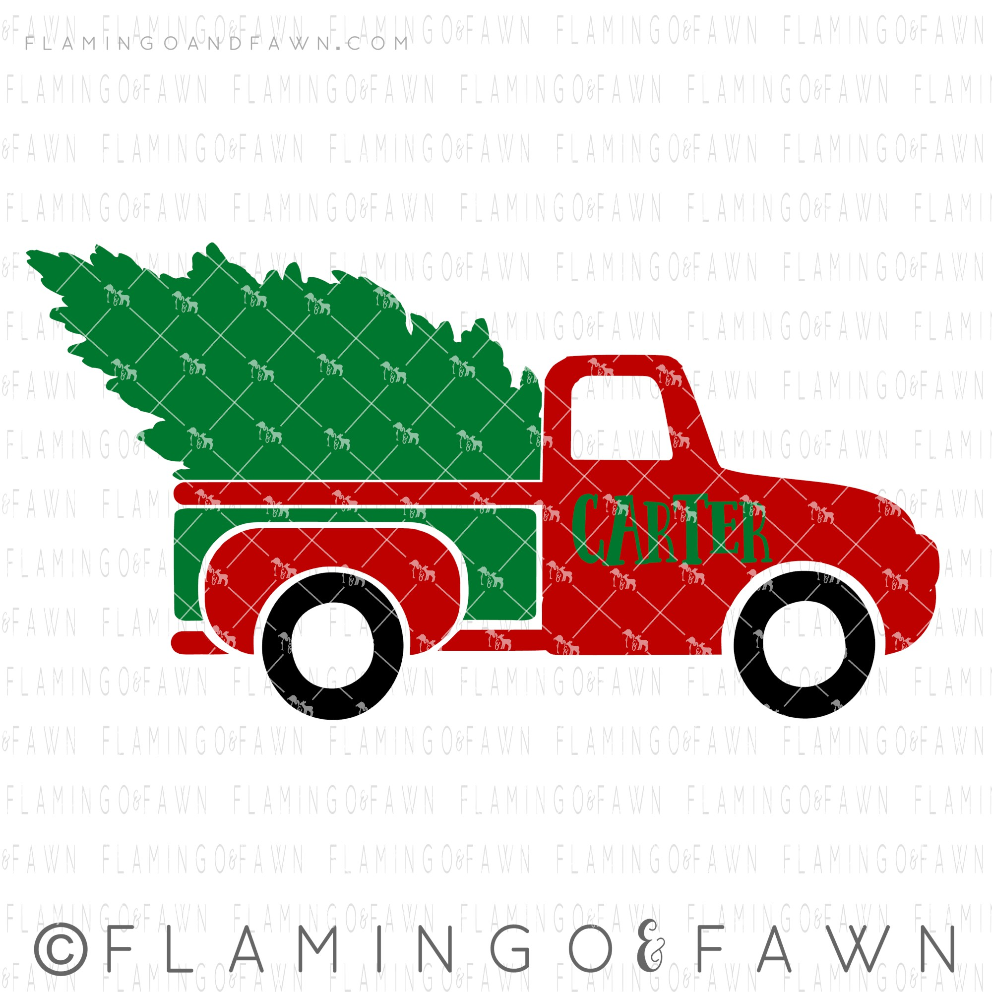 country christmas truck svg