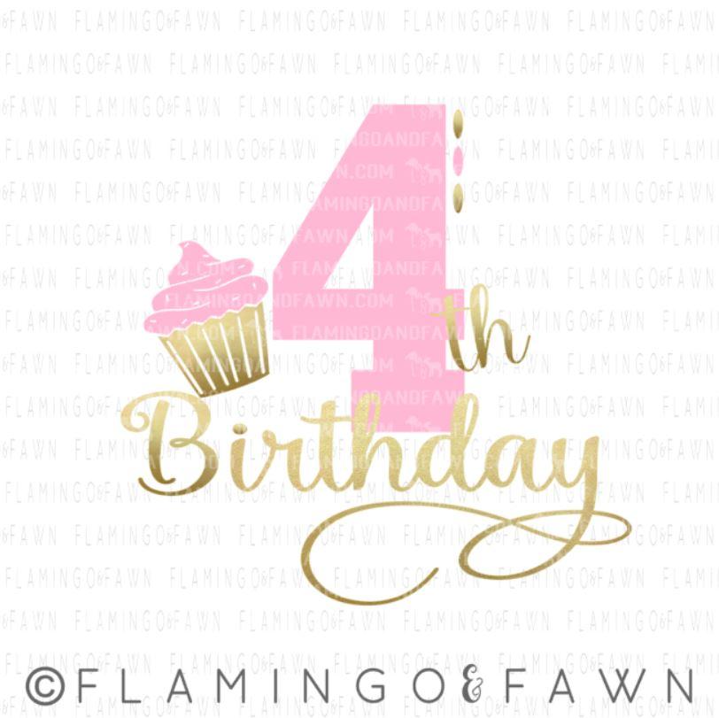 4th birthday girl svg