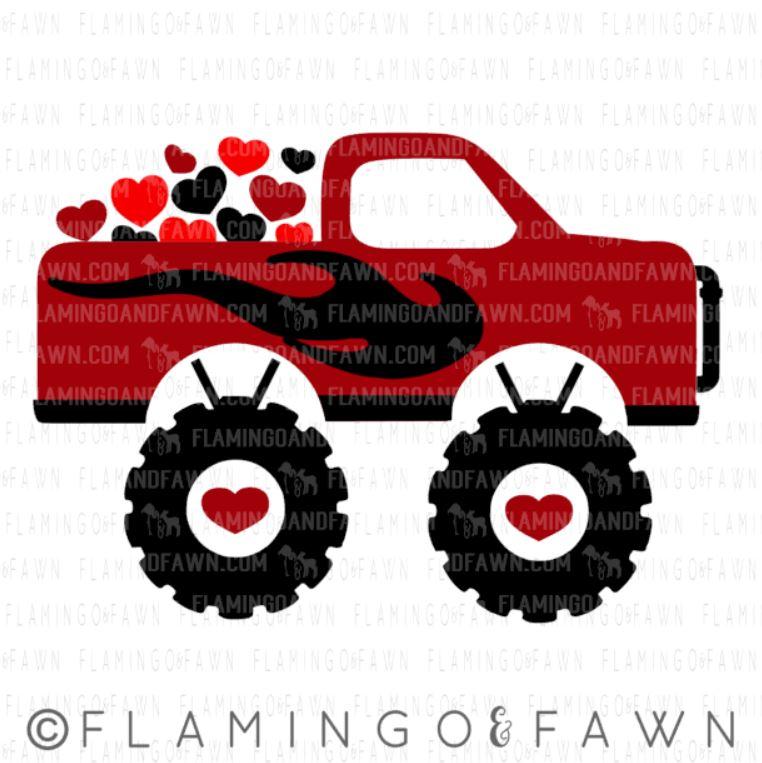 monster truck valentine svg