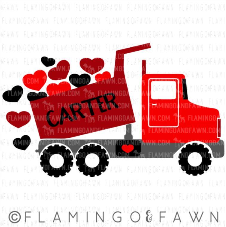 dump truck valentine svg
