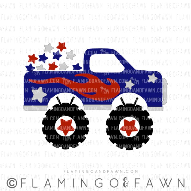 4th of july truck svg