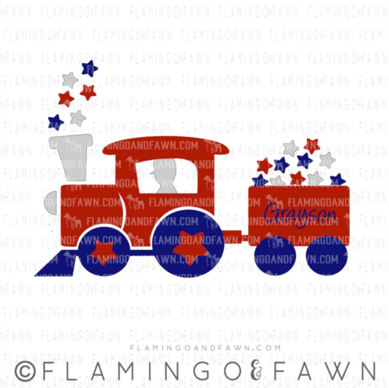 4th of july train svg