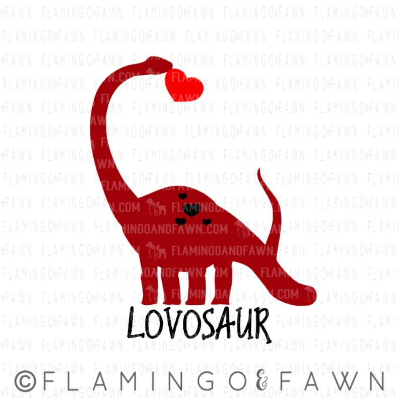 Valentine dinosaur svg
