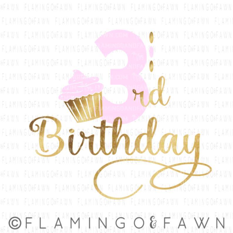 3rd birthday girl svg