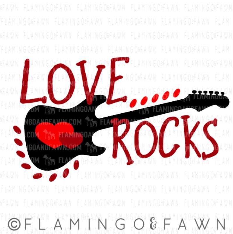 love rocks guitar svg