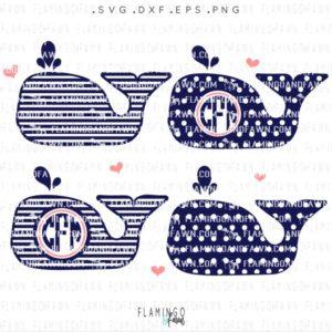 whale monogram svg