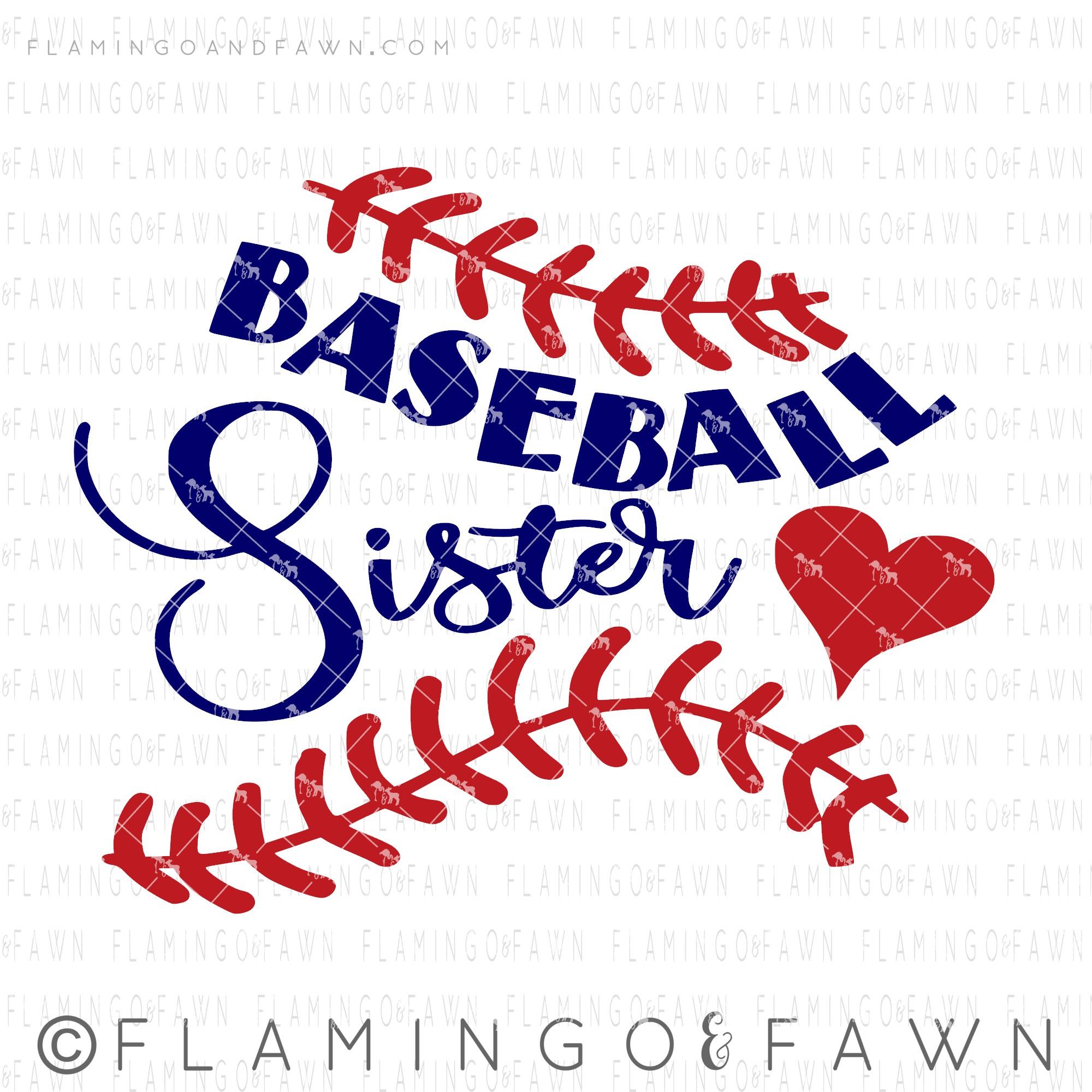 baseball sister svg flamingo and fawn