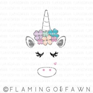 unicorn with flowers svg
