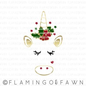 unicorn face christmas svg
