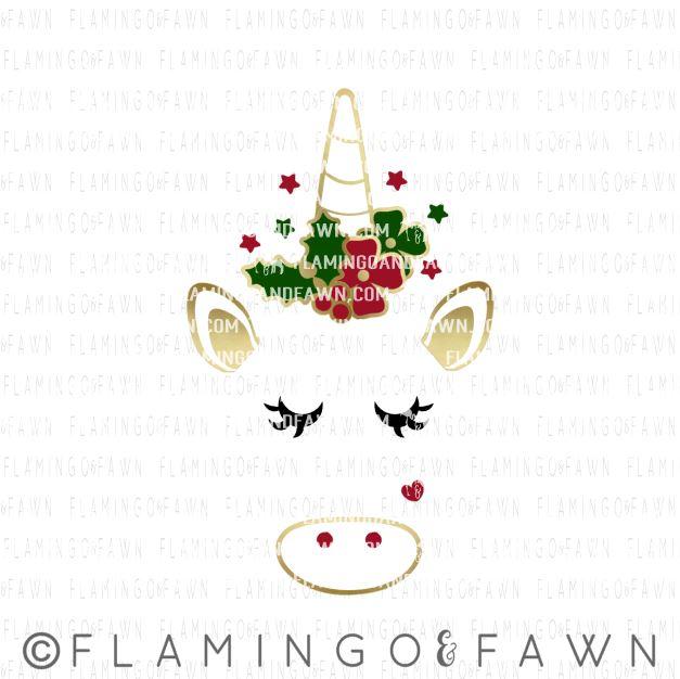 unicorn face christmas svg