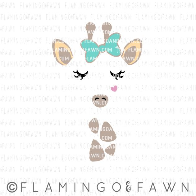 giraffe face with bow svg
