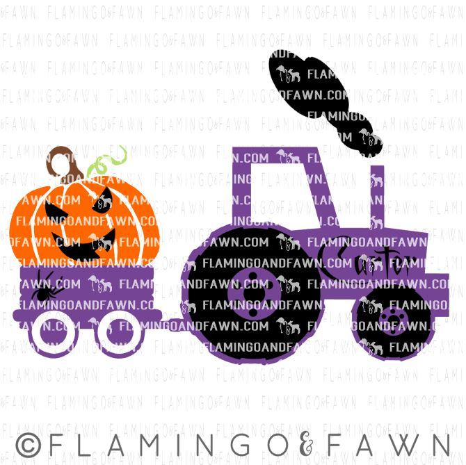 pumpkin tractor svg