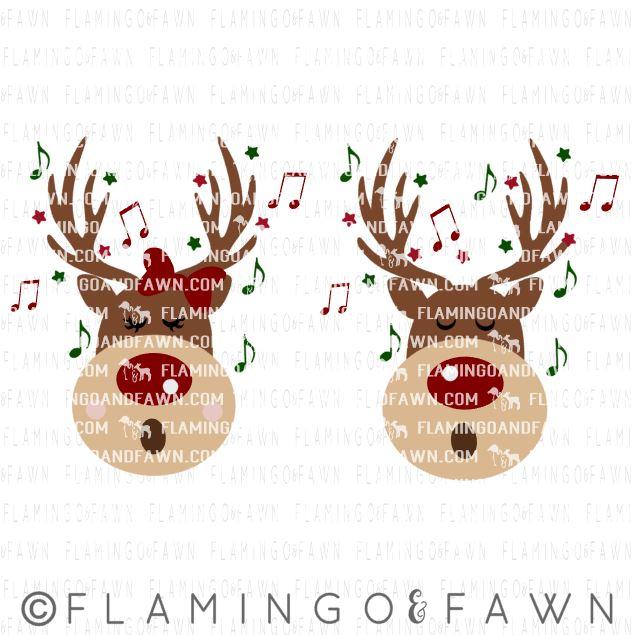 singing reindeer svg