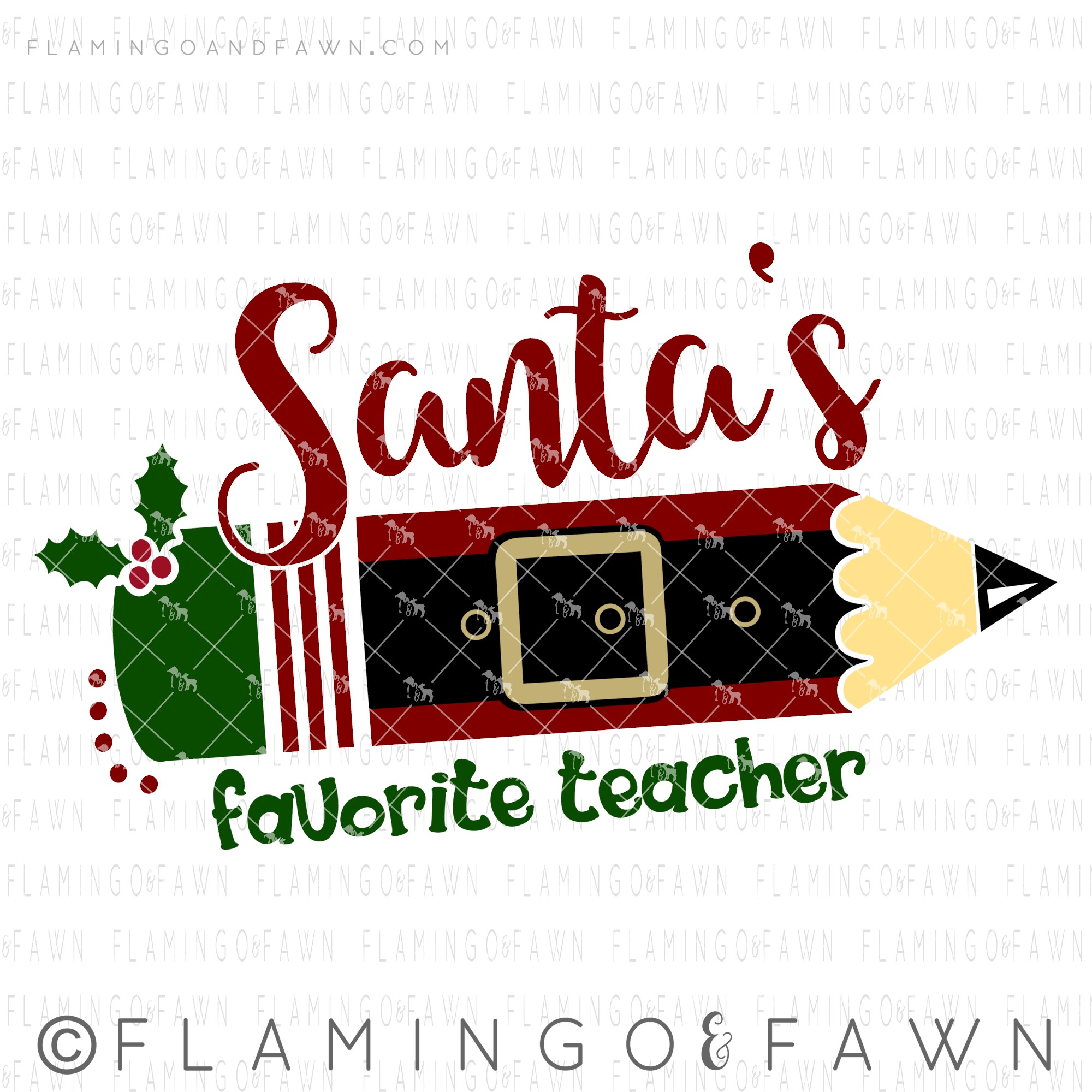 santas favorite teacher svg